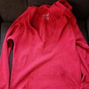 Red NIKE Thermal Boston Team v Neck Hoodie